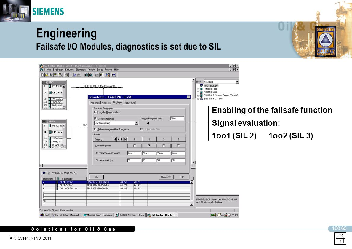 Engineering Failsafe I/O Modules, diagnostics is set due to SIL