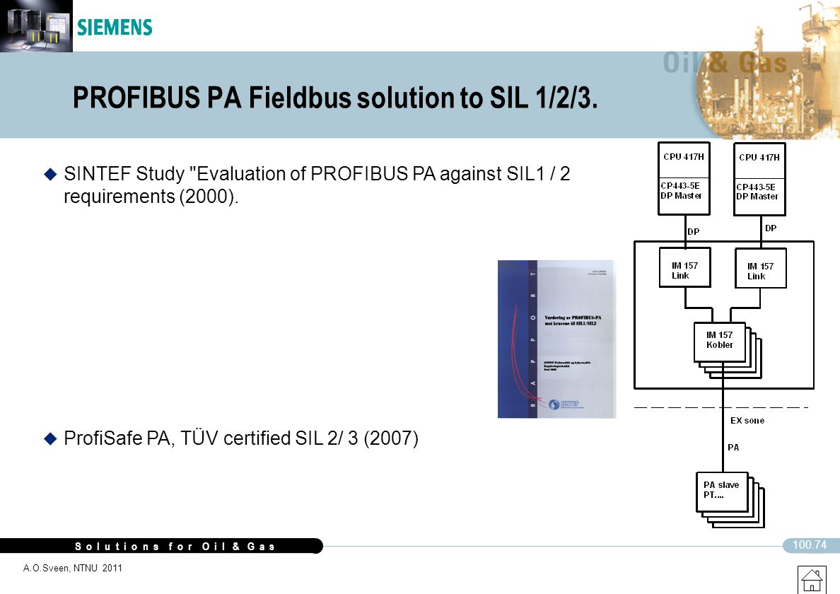 PROFIBUS PA Fieldbus solution to SIL 1/2/3.