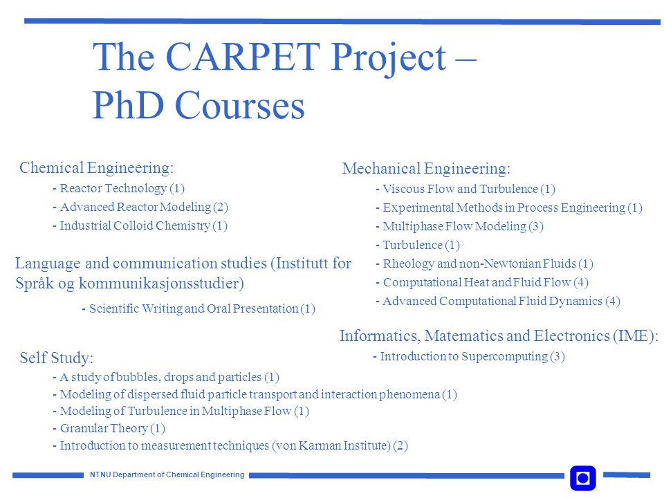 The CARPET Project – PhD Courses