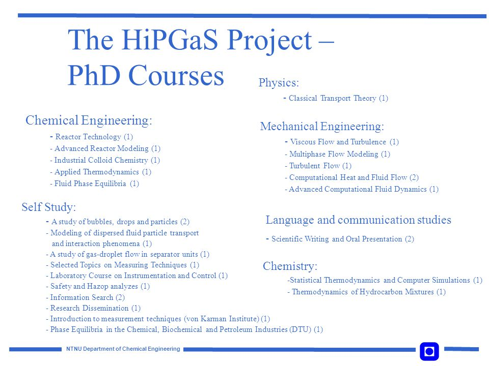 The HiPGaS Project – PhD Courses