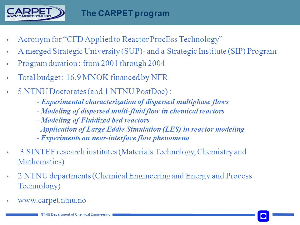 The CARPET program Acronym for CFD Applied to Reactor ProcEss Technology