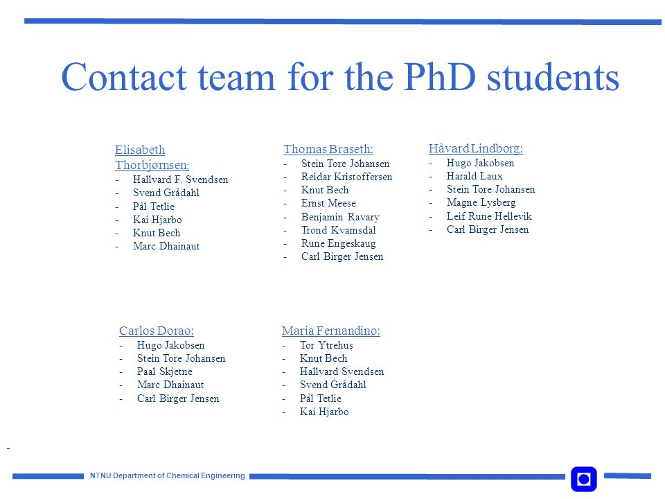 Contact team for the PhD students