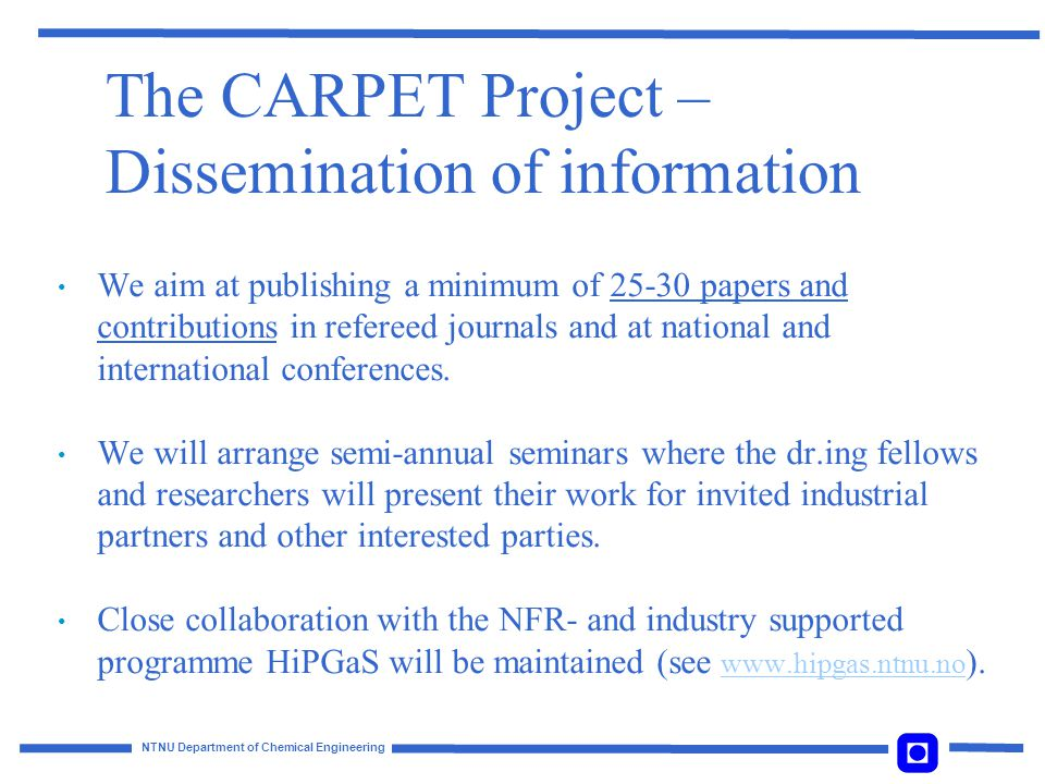 The CARPET Project – Dissemination of information
