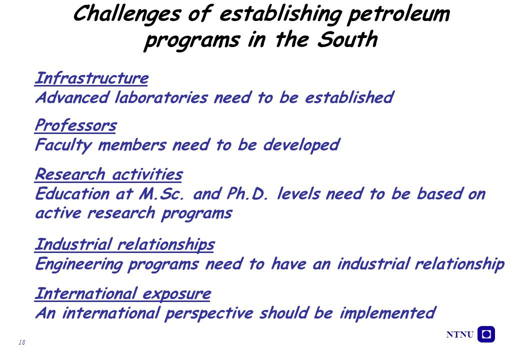 Challenges of establishing petroleum programs in the South