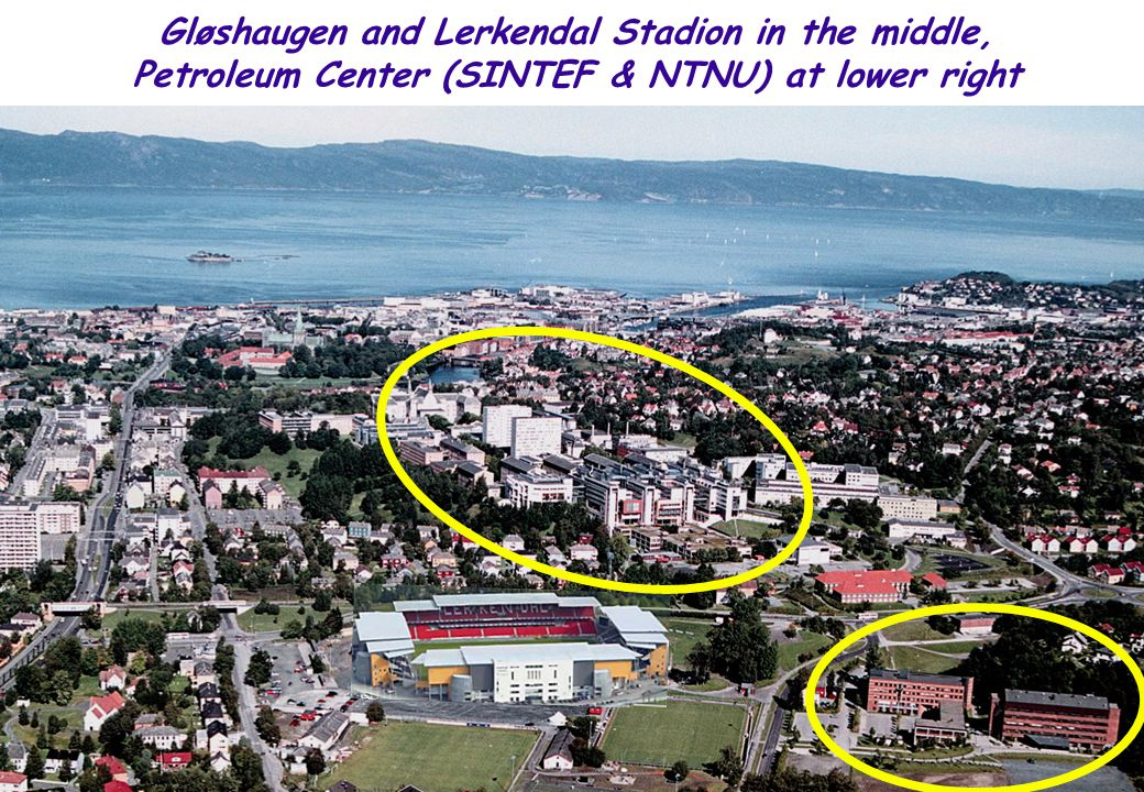 Gløshaugen and Lerkendal Stadion in the middle, Petroleum Center (SINTEF & NTNU) at lower right