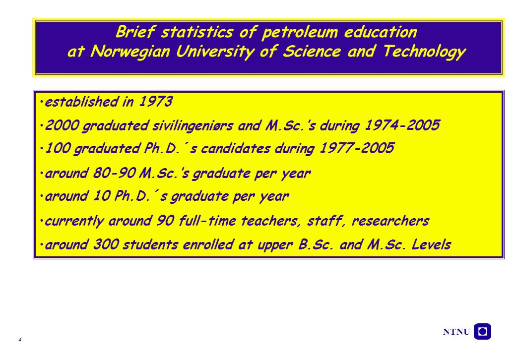 Brief statistics of petroleum education