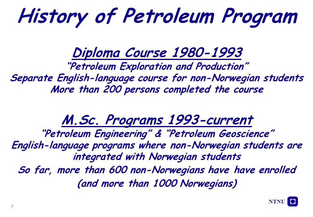 History of Petroleum Program