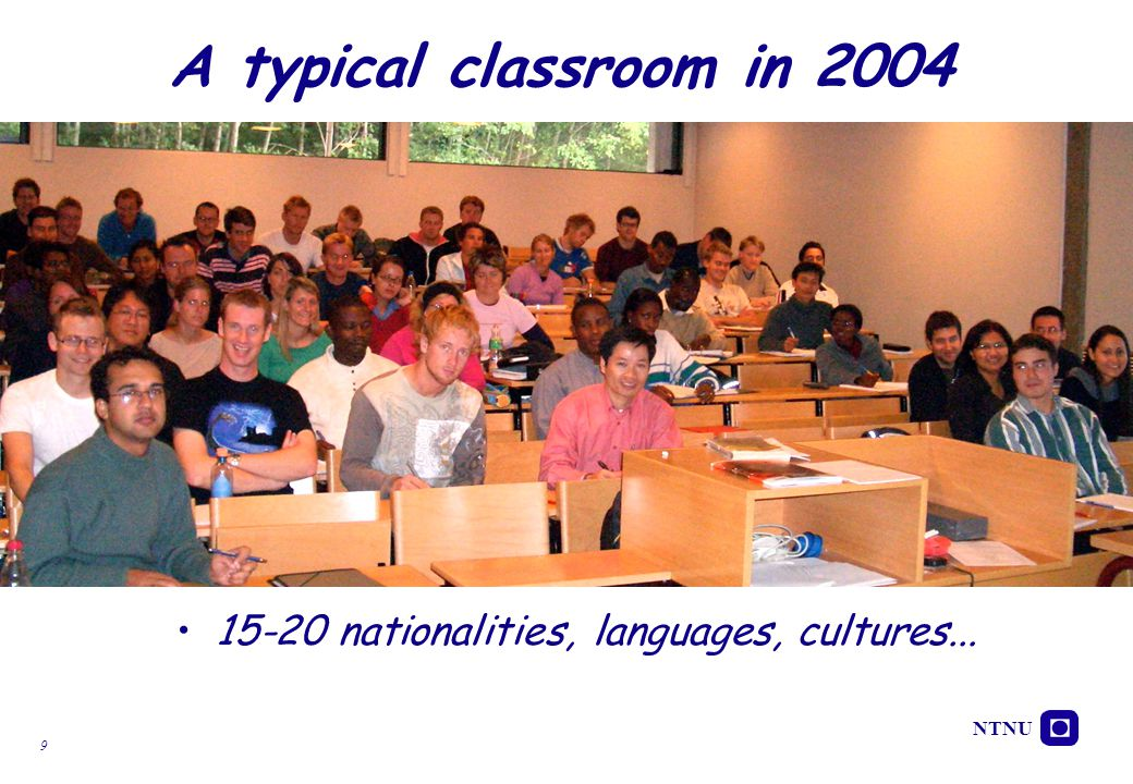 A typical classroom in 2004 15-20 nationalities, languages, cultures...