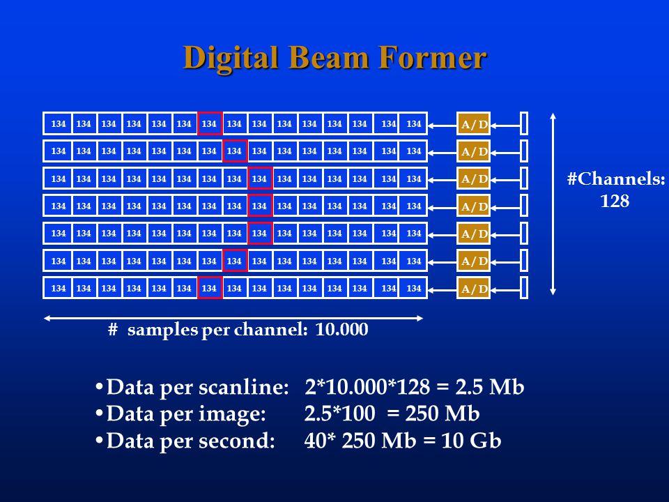 Digital Beam Former Data per scanline: 2*10.000*128 = 2.5 Mb