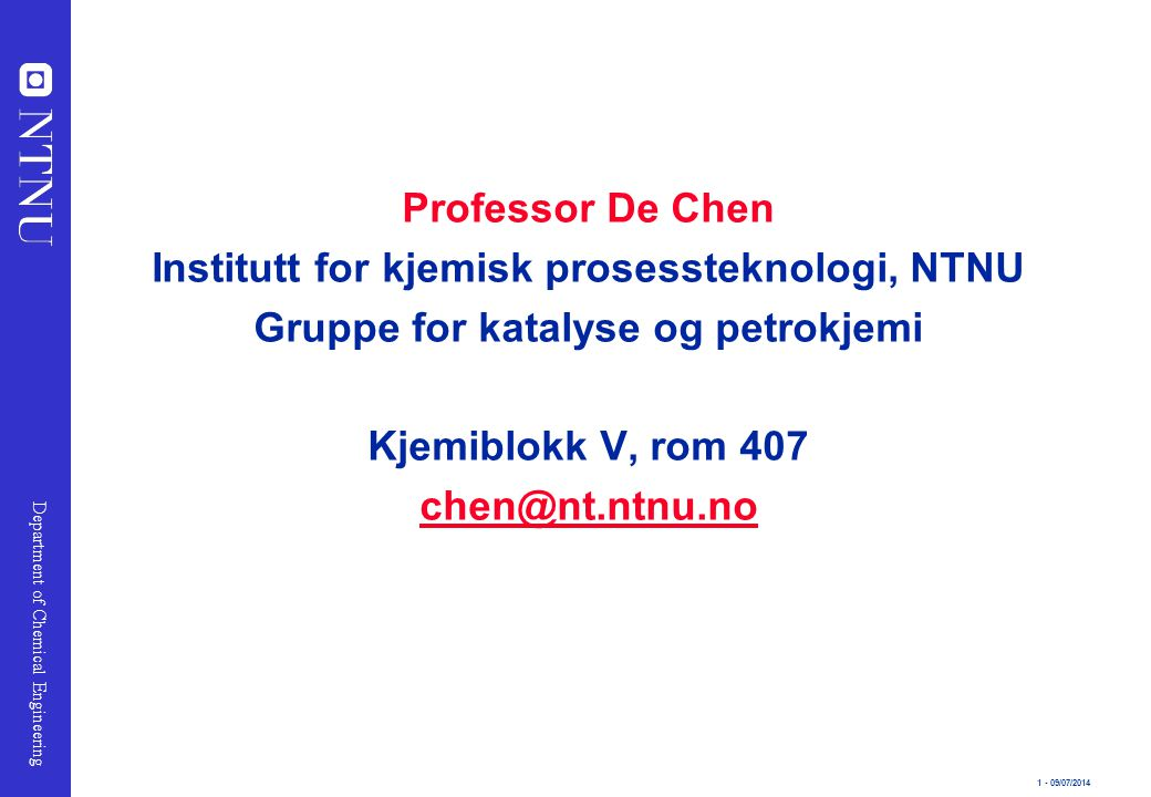 Institutt for kjemisk prosessteknologi, NTNU