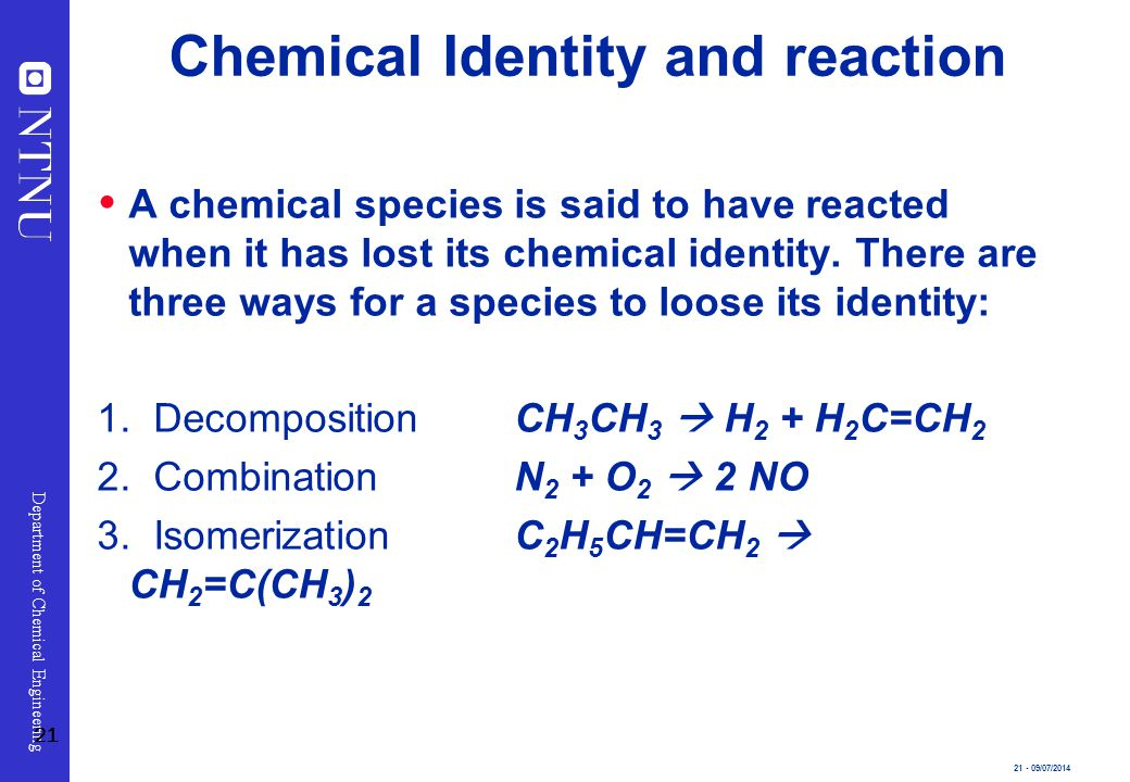 Chemical Identity and reaction