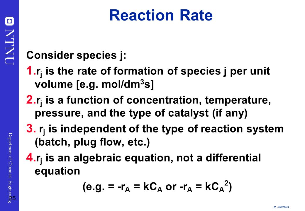 Reaction Rate Consider species j: