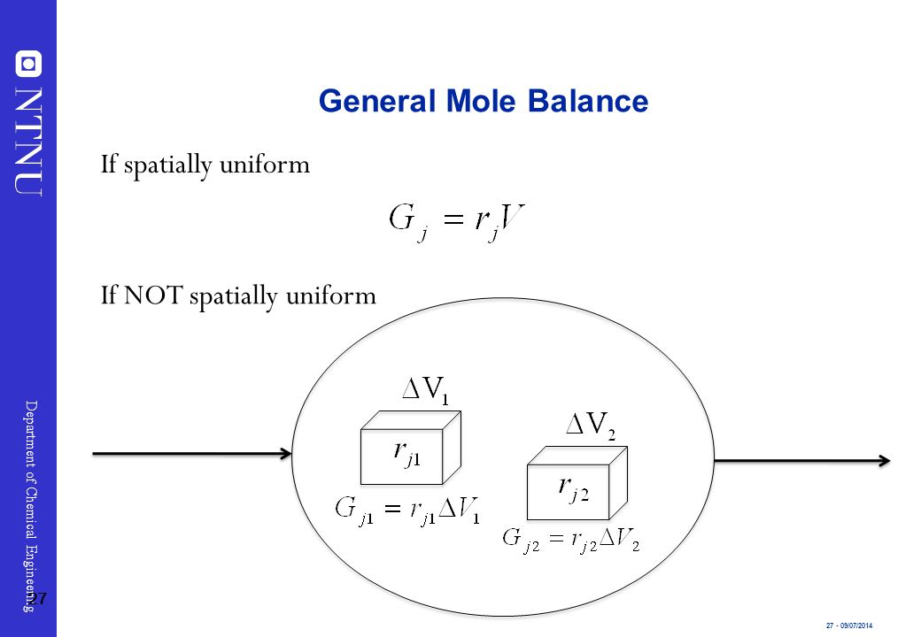 General Mole Balance If spatially uniform If NOT spatially uniform 27