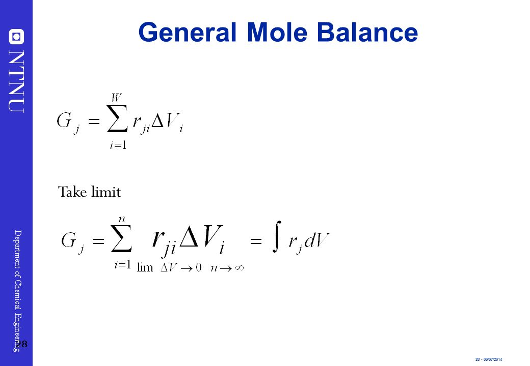 General Mole Balance Take limit 28