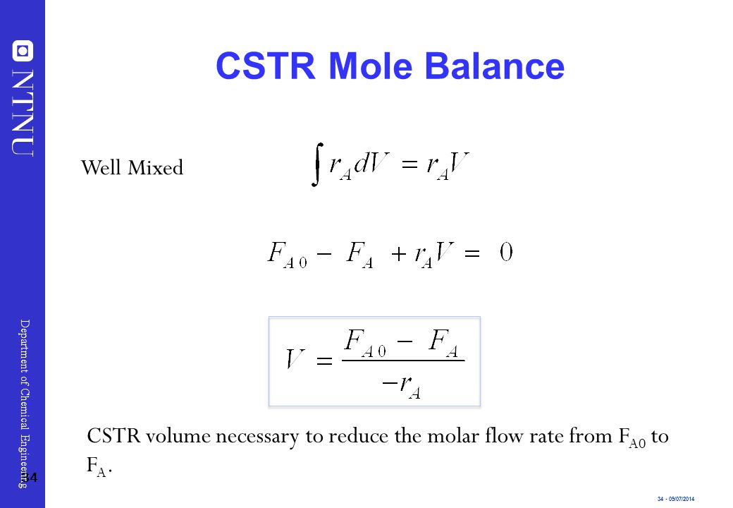 CSTR Mole Balance Well Mixed