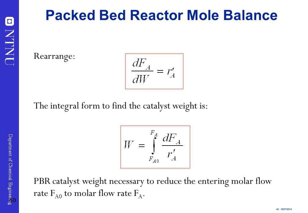 Packed Bed Reactor Mole Balance