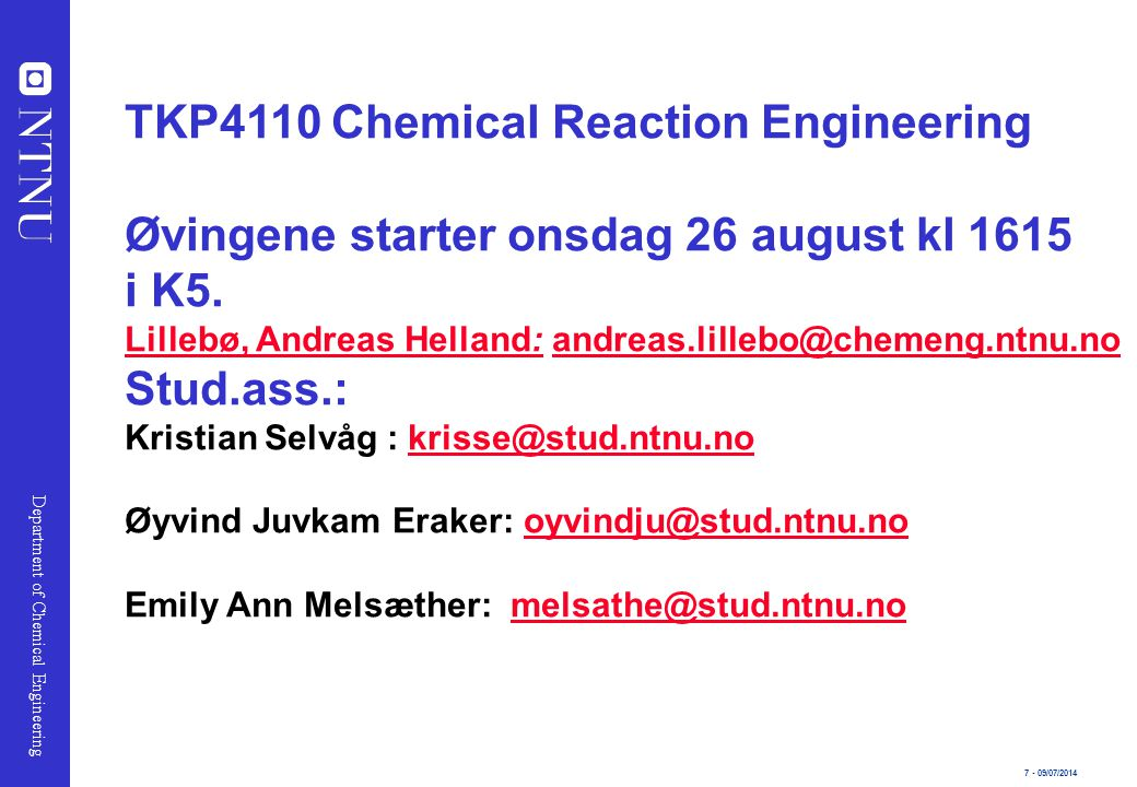 TKP4110 Chemical Reaction Engineering