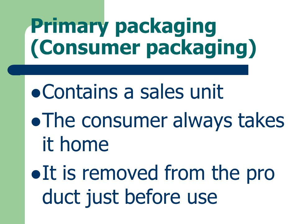 Primary packaging (Consumer packaging)