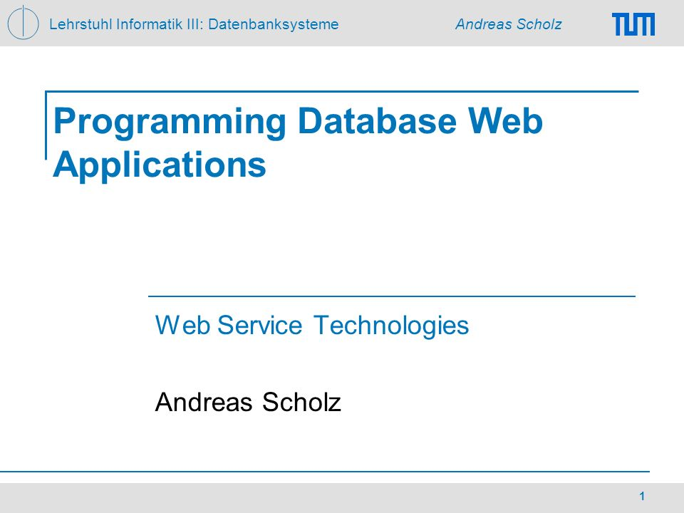 Programming Database Web Applications