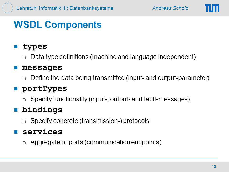 WSDL Components types messages portTypes bindings services