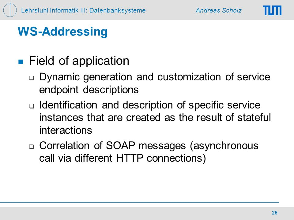 WS-Addressing Field of application