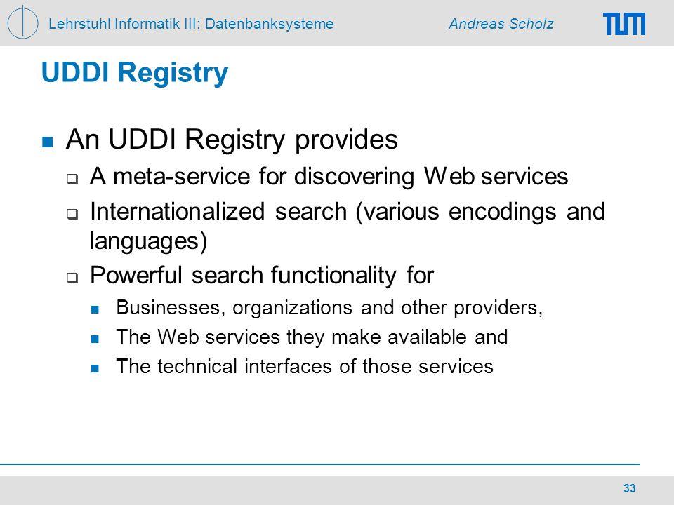 An UDDI Registry provides