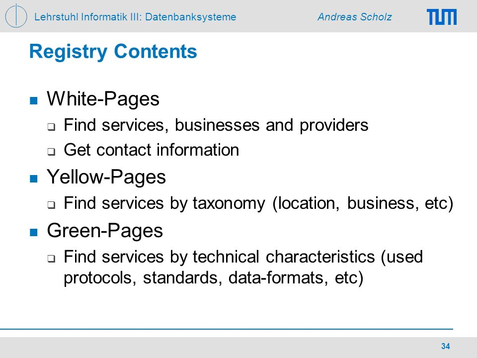 Registry Contents White-Pages Yellow-Pages Green-Pages