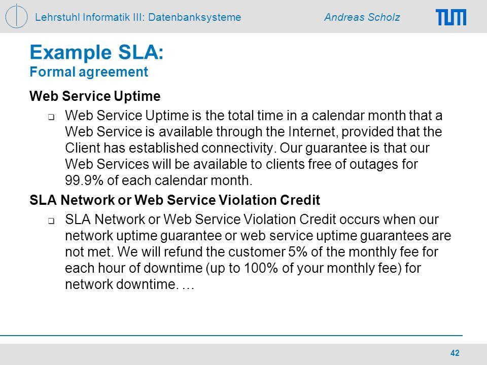 Example SLA: Formal agreement