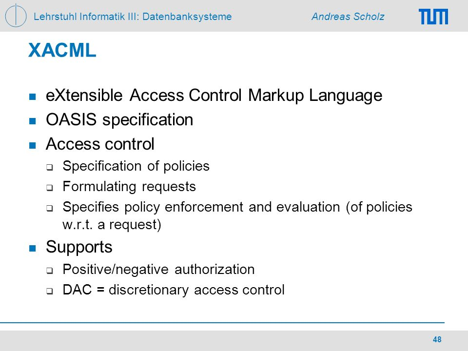 XACML eXtensible Access Control Markup Language OASIS specification