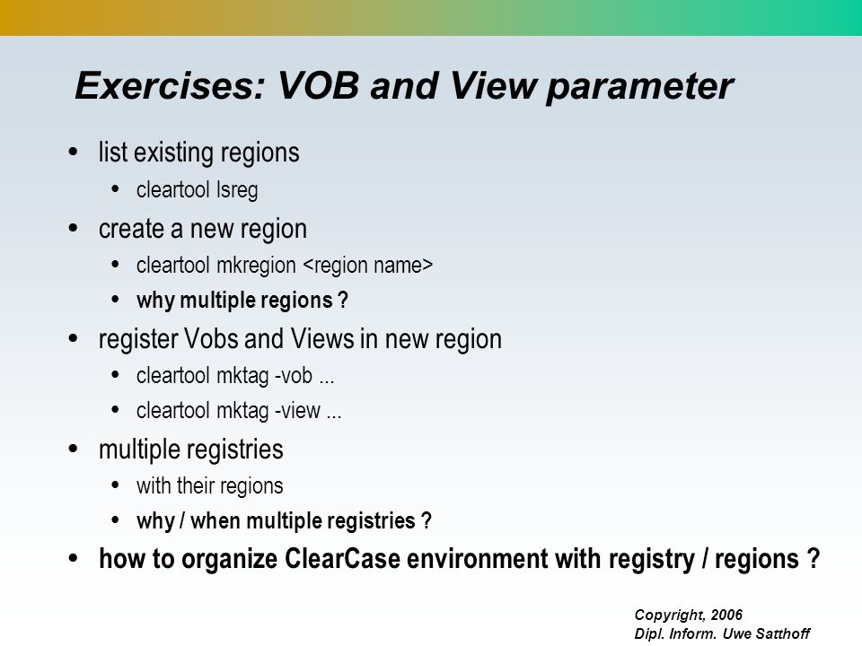 Exercises: VOB and View parameter