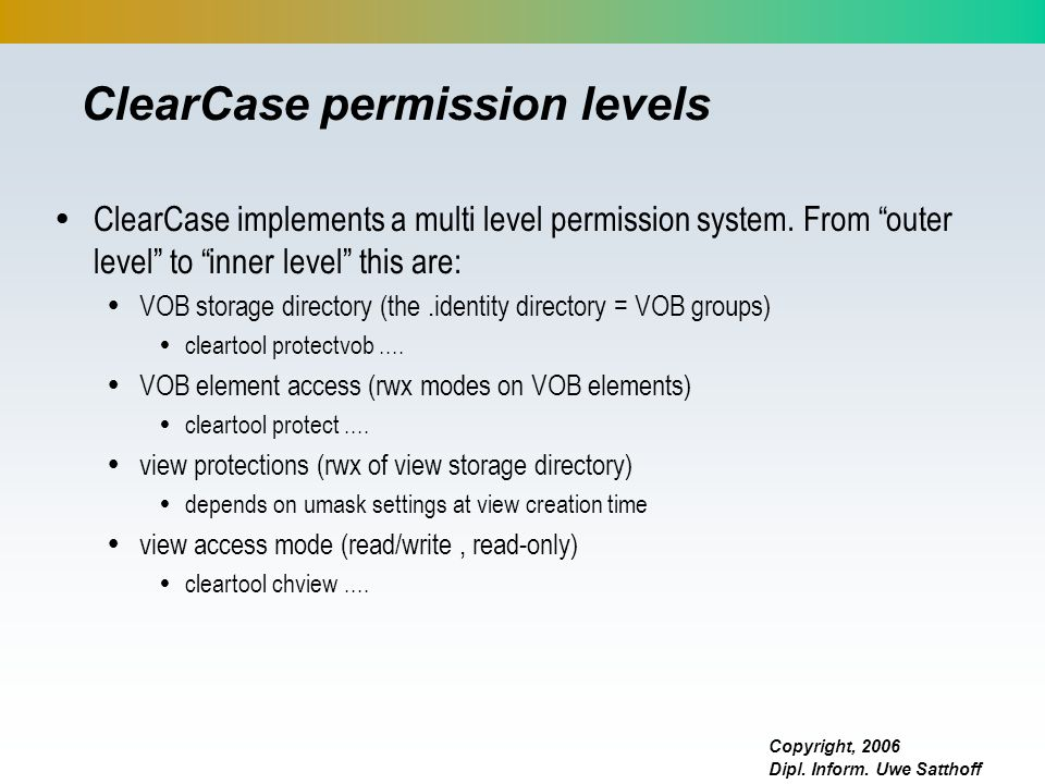 ClearCase permission levels