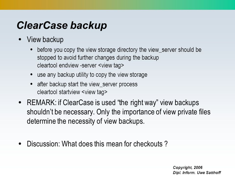 ClearCase backup View backup
