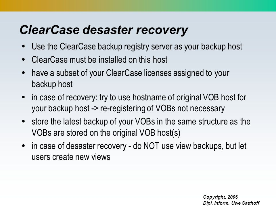 ClearCase desaster recovery