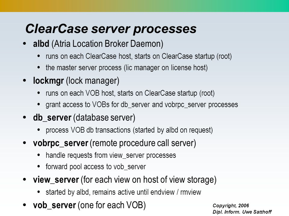 ClearCase server processes