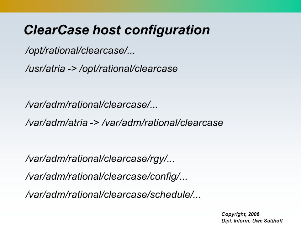 ClearCase host configuration