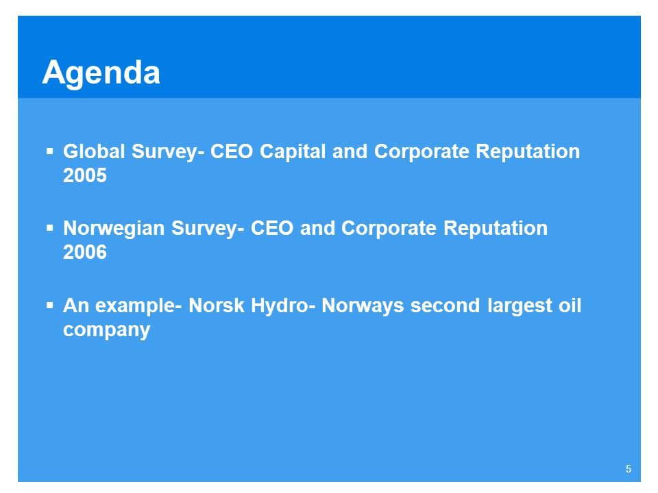 Agenda Global Survey- CEO Capital and Corporate Reputation 2005