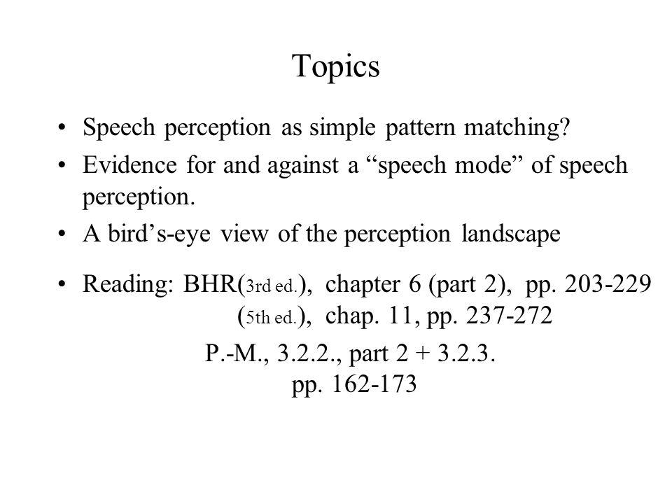 Topics Speech perception as simple pattern matching