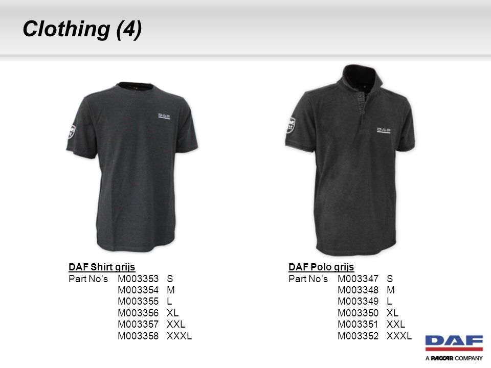 Clothing (4) DAF Shirt grijs Part No's M003353 S M003354 M M003355 L