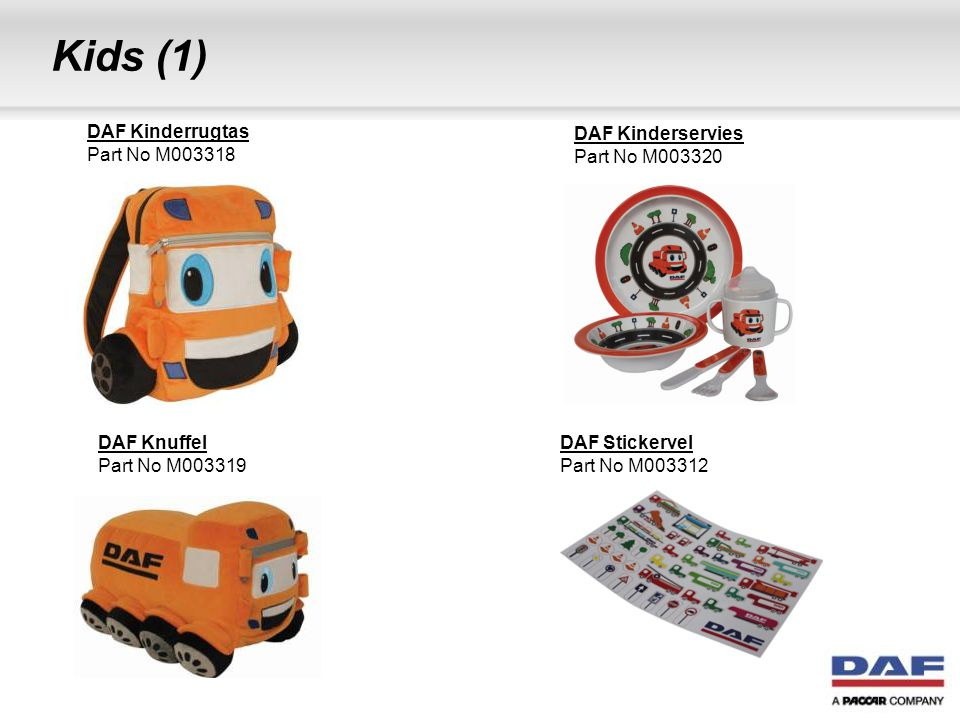 Kids (1) DAF Kinderrugtas Part No M003318 DAF Kinderservies
