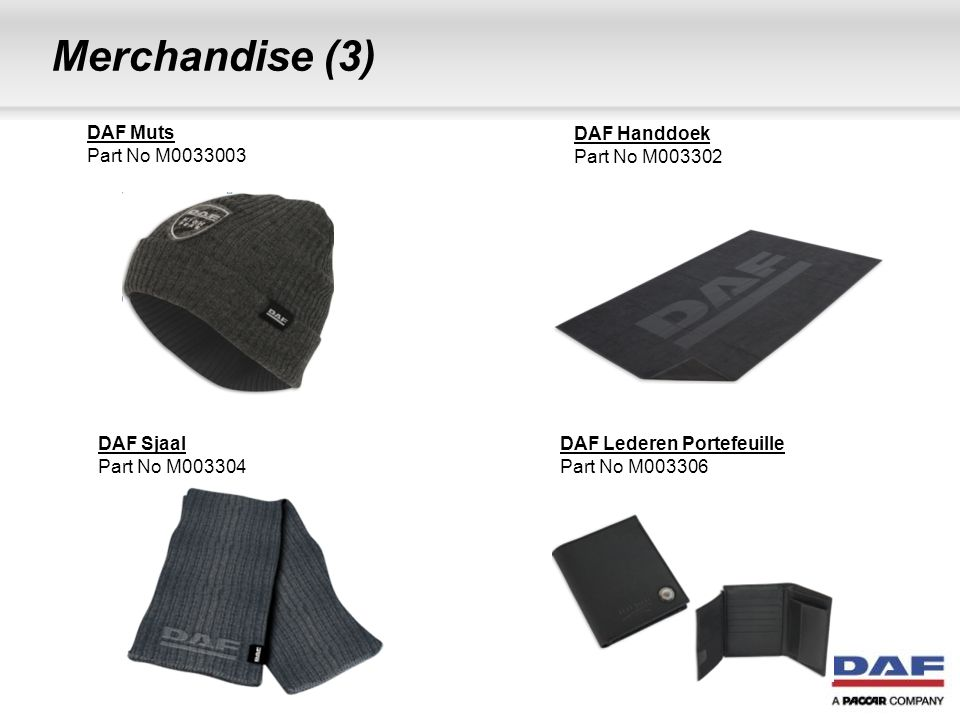 Merchandise (3) DAF Muts Part No M DAF Handdoek Part No M003302