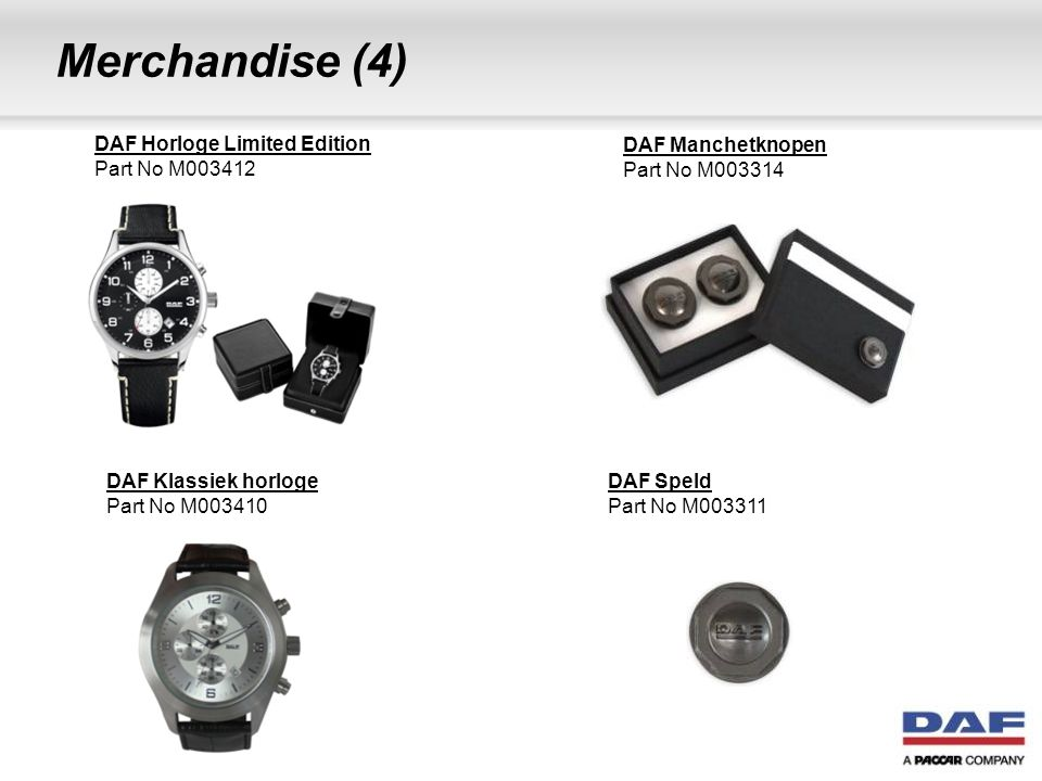 Merchandise (4) DAF Horloge Limited Edition Part No M003412