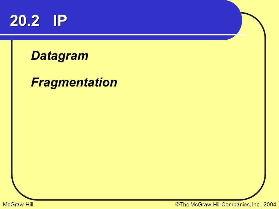 20.2 IP Datagram Fragmentation