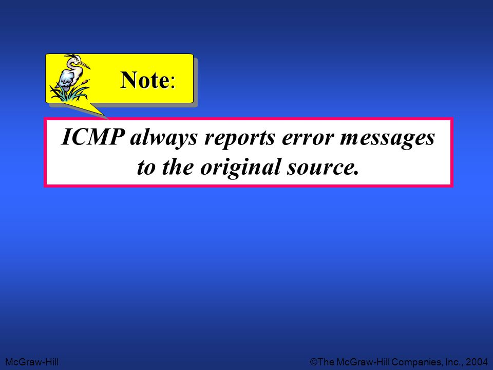 ICMP always reports error messages to the original source.