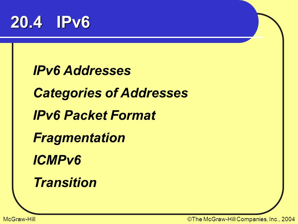 20.4 IPv6 IPv6 Addresses Categories of Addresses IPv6 Packet Format