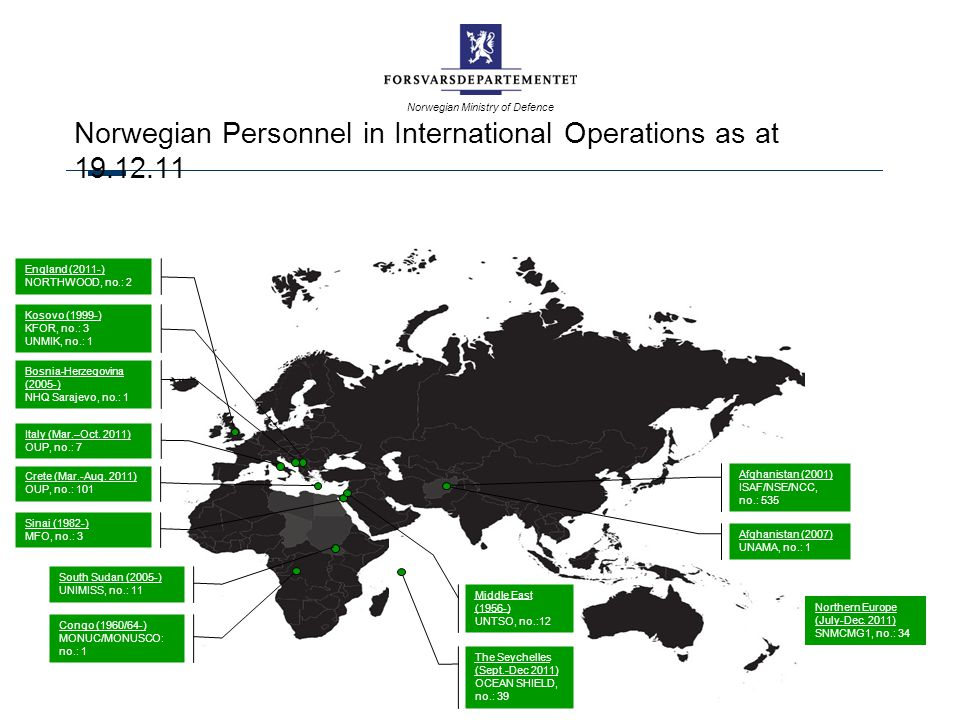 Norwegian Personnel in International Operations as at 19.12.11