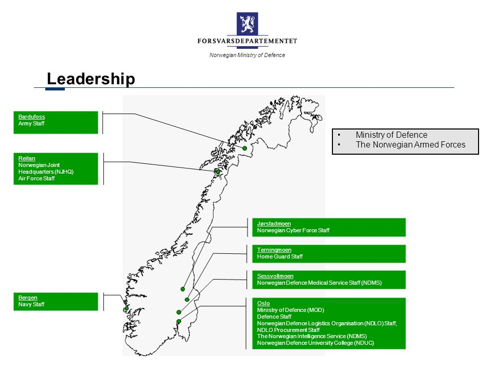 Leadership Ministry of Defence The Norwegian Armed Forces Bardufoss