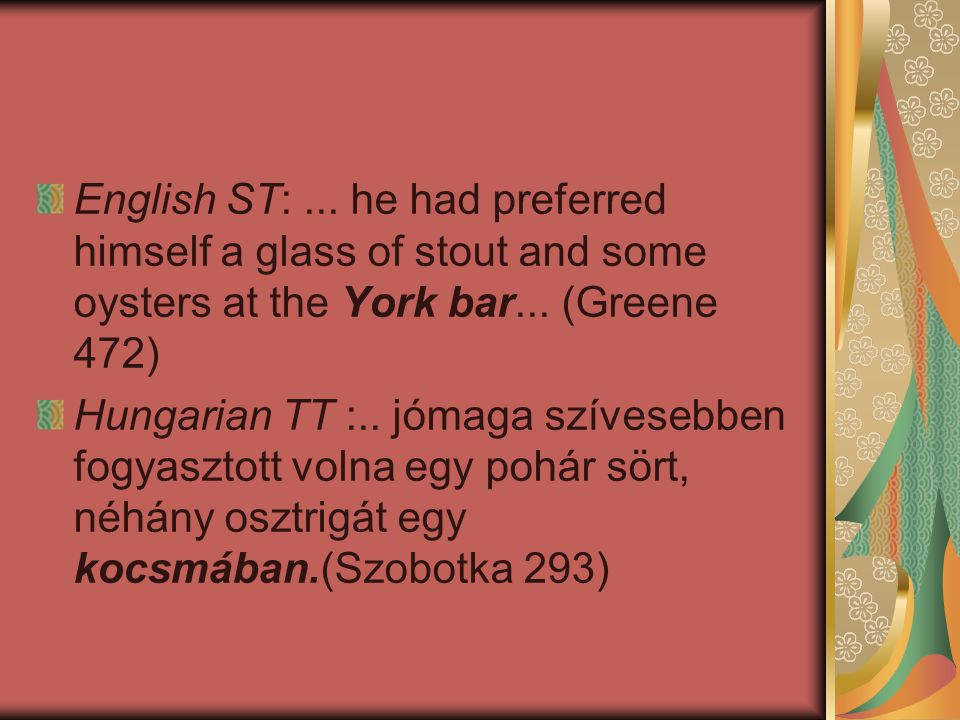 English ST: ... he had preferred himself a glass of stout and some oysters at the York bar... (Greene 472)