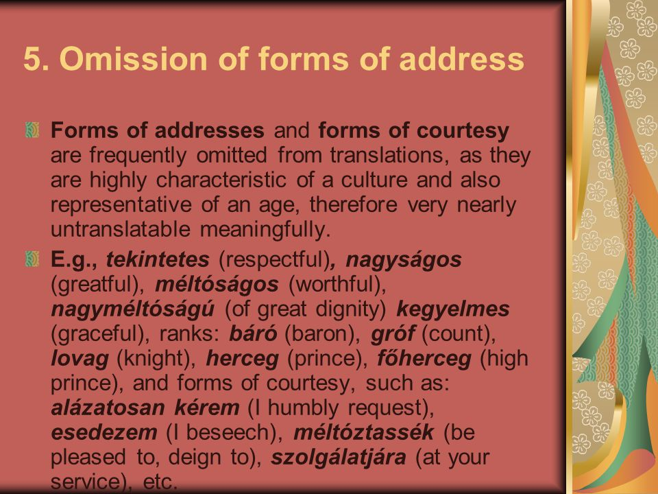 5. Omission of forms of address