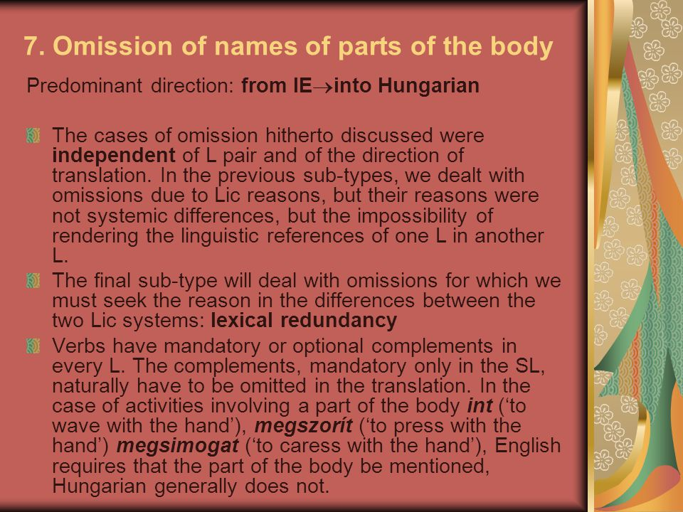 7. Omission of names of parts of the body