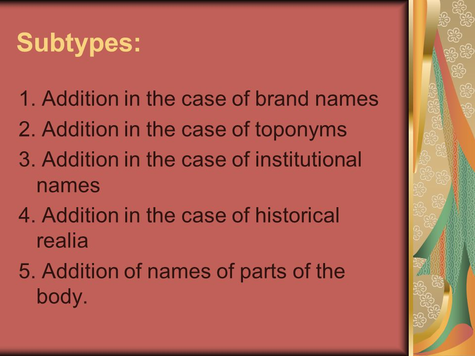 Subtypes: 1. Addition in the case of brand names
